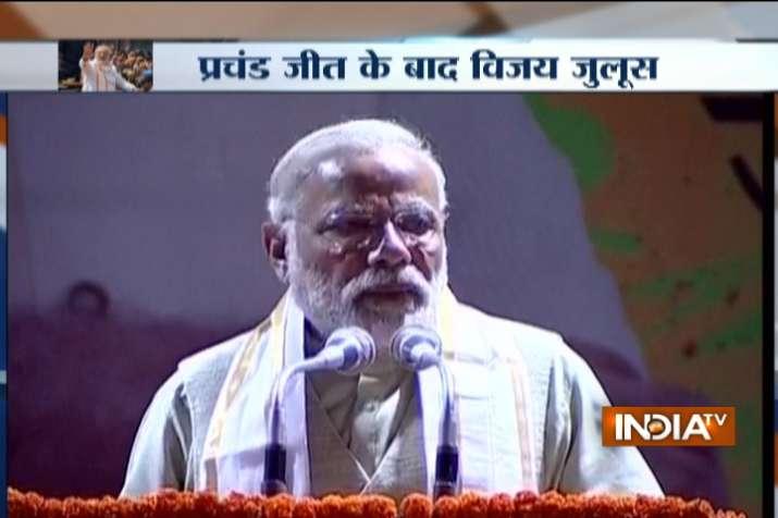 PM Modi addresses supporters at BJP headquarters