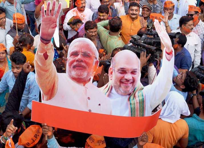 BJP workers carry a cut-out of PM Narendra Modi and BJP