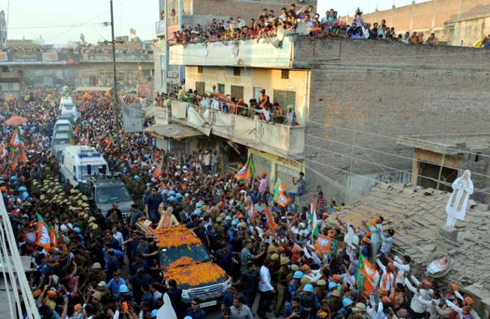 Prime Minister Narendra Modi during his road show in