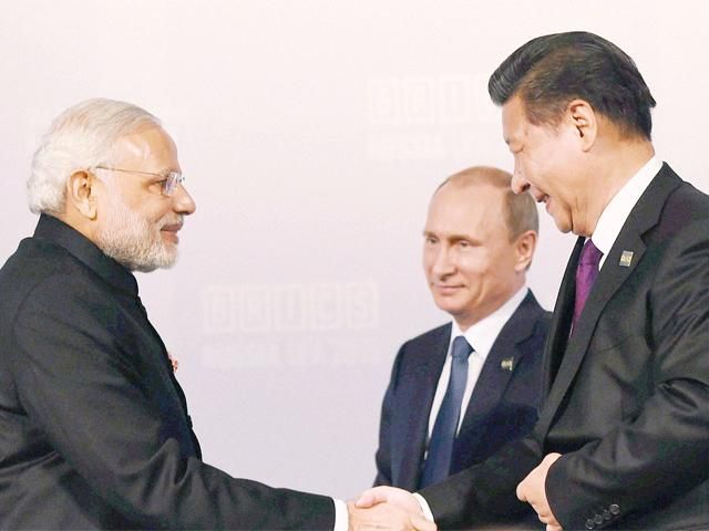 Chinese President Xi with PM Modi and President Putin