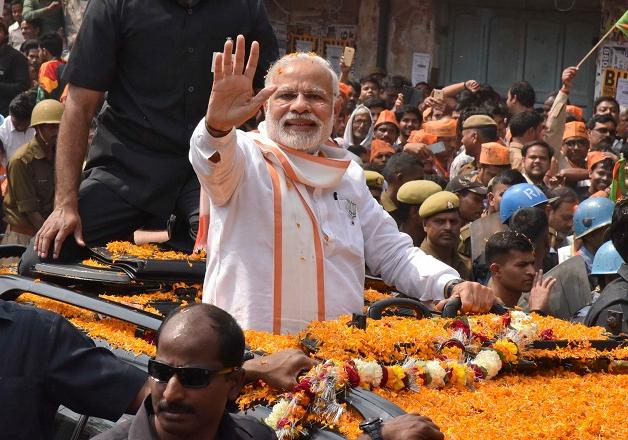 File pic of PM Narendra Modi during a road show in Varanasi