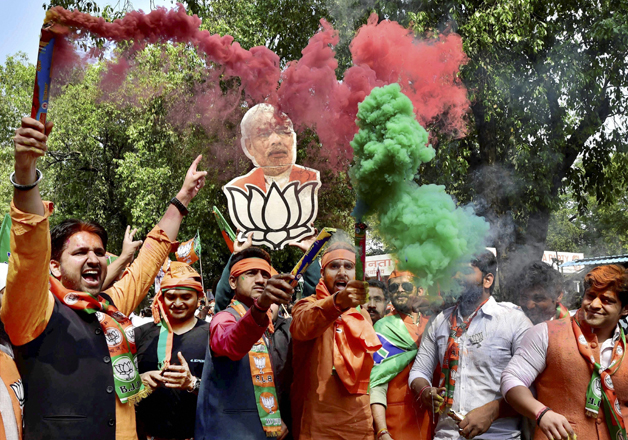 India Tv - BJP workers celebrate victory in UP