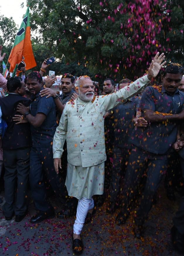 India Tv - PM Modi at BJP office in Delhi after winning UP polls