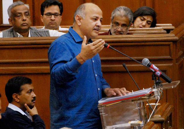 Manish Sisodia presenting the state budget 2017-18 in the