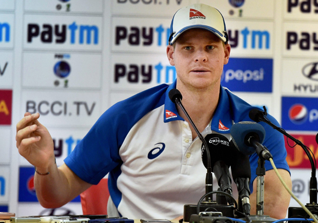 Steve Smith addressing a press conference in Dharamshala