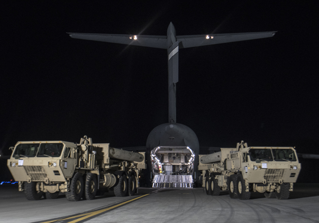 Trucks carrying US missile launchers at Osan air base in
