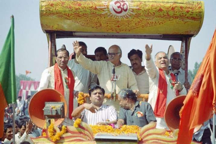 India Tv - File pic of Advani's rath-yatra