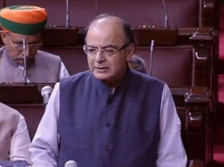 File pic - FM Arun Jaitley speaks on the floor of Rajya