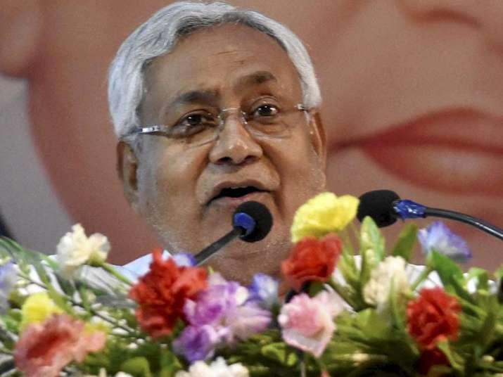 Nitish Kumar addressing a function on 126th birth