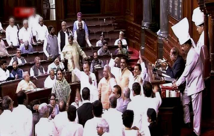 Opposition members protest in Rajya Sabha over alleged EVM