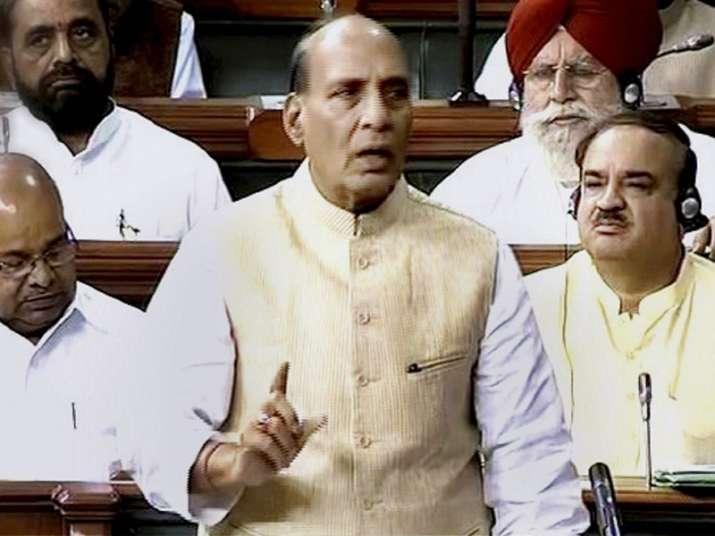 Union Home Minister Rajnath Singh speaks on the floor of