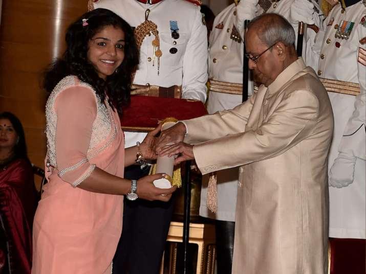 File pic - President confers Padma Shri on Sakshi Malik