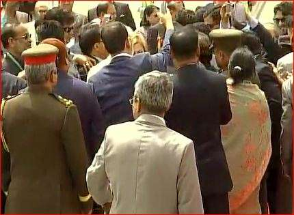 India Tv - Officials of Hasina delegation taking selfie with PM Modi