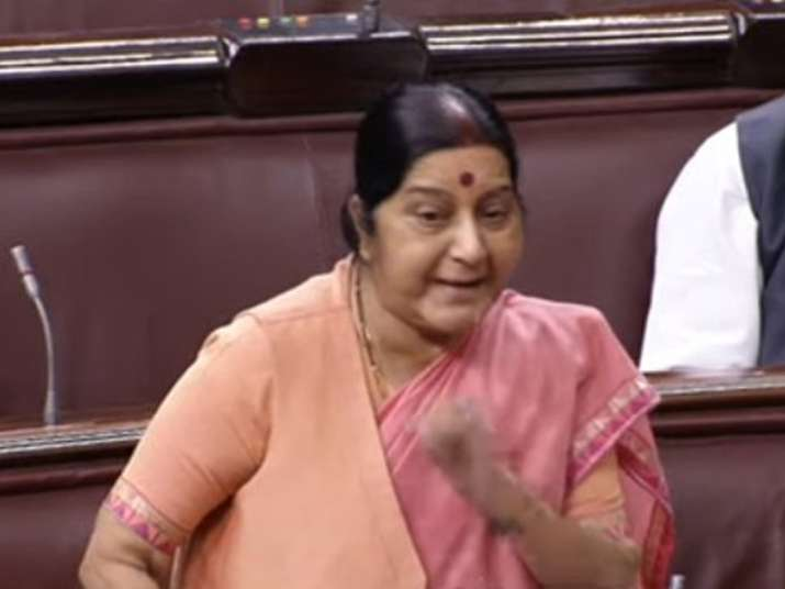 Sushma Swaraj speaks on the floor of Rajya Sabha over