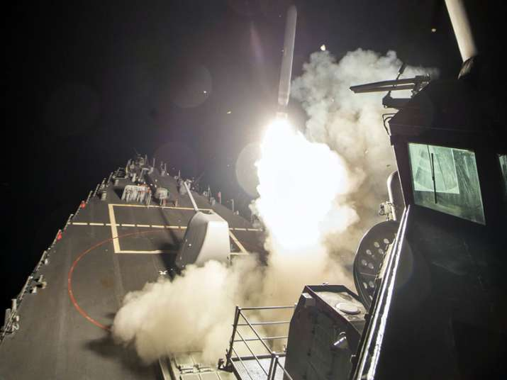 USS Ross (DDG 71) fires a tomahawk land attack missile from