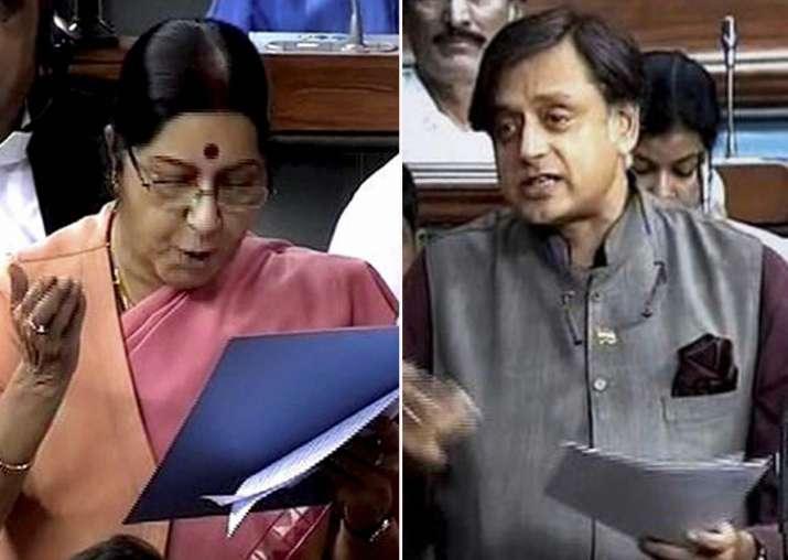 Sushma Swaraj asks Shashi Tharoor to draft resolution