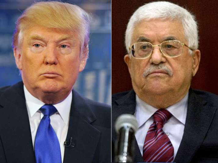 File pic of Donald Trump and Mahmud Abbas