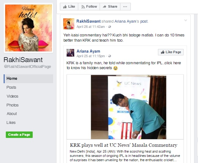 India Tv - Rakhi criticised KRK's commentary on her Facebook account