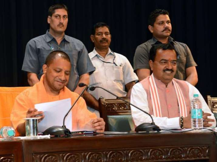 File pic of CM Yogi and his Deputy at a high-level meeting