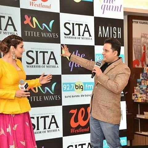 India Tv - Amish Tripathi with Raveena Tandon at a book launch