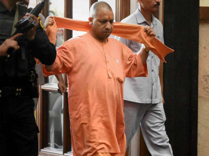 File pic - Adityanath arrives for a cabinet meeting at Lok