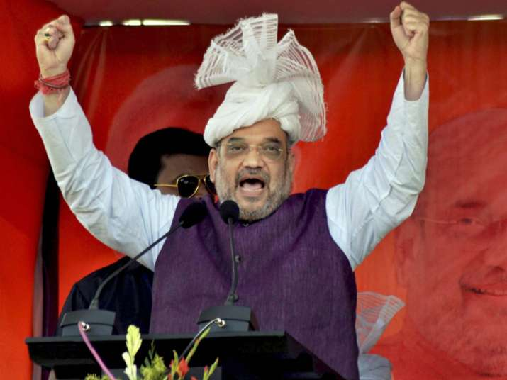 BJP President Amit Shah addressing a public meeting in
