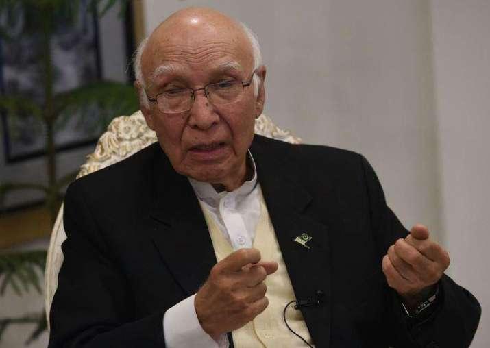 File pic of Pak diplomat Sartaj Aziz