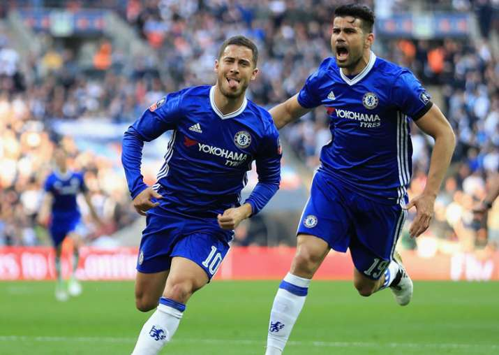 A file image of Chelsea players Diego Costa and Eden Hazard.