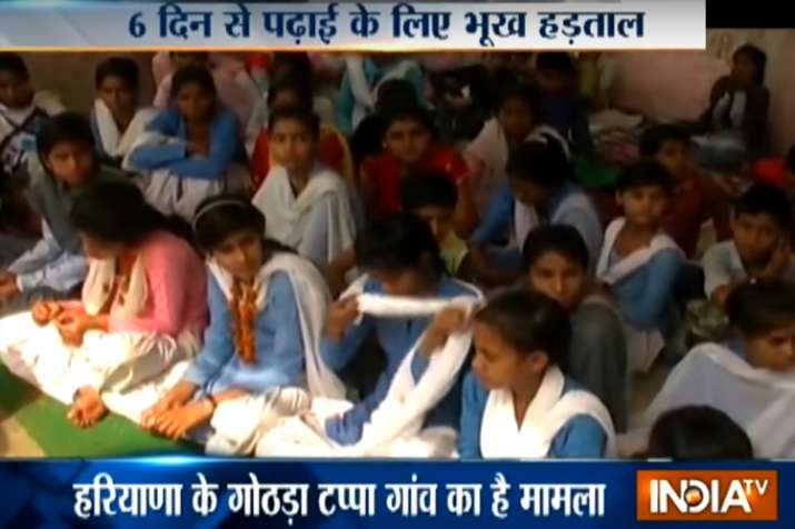 80 girl students of classes IX and X are on hunger strike