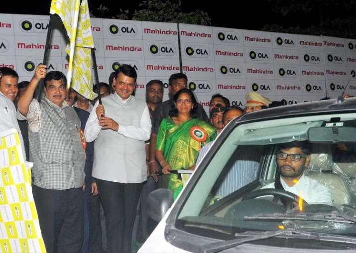 Fadnavis, Gadkari during India's first OLA Multi Modal