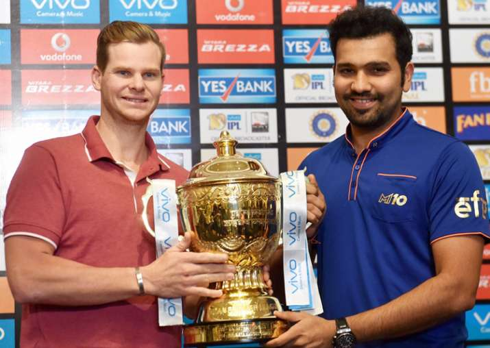 Rohit Sharma and Steve Smith pose with the IPL 10 trophy