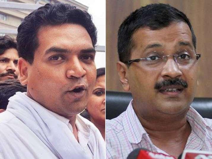 File pic of Kapil Mishra and Arvind Kejriwal