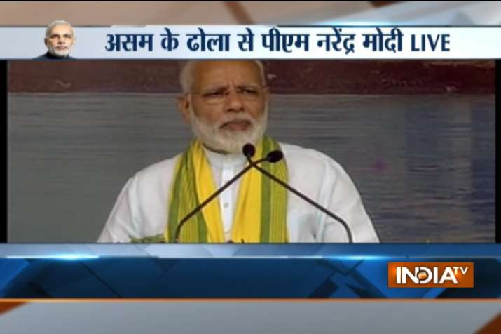 India Tv - PM Modi addressing public gathering at Dhola