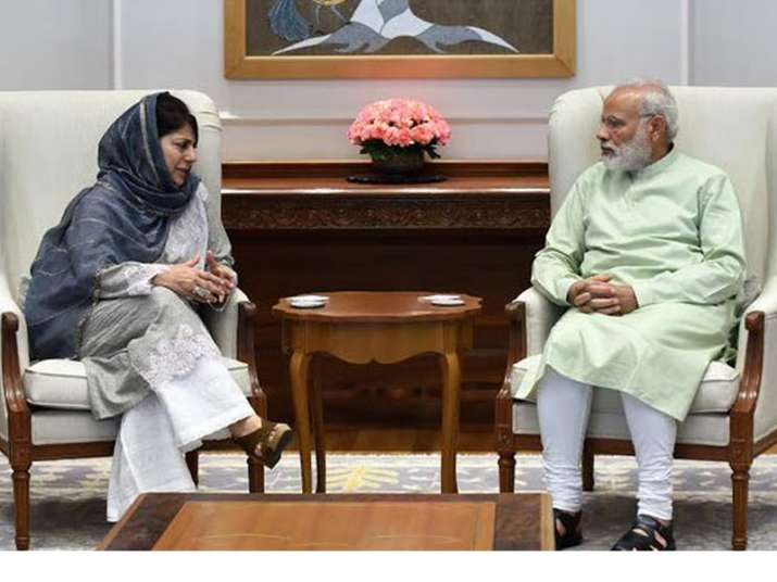 File pic of Mehbooba Mufti and Narendra Modi