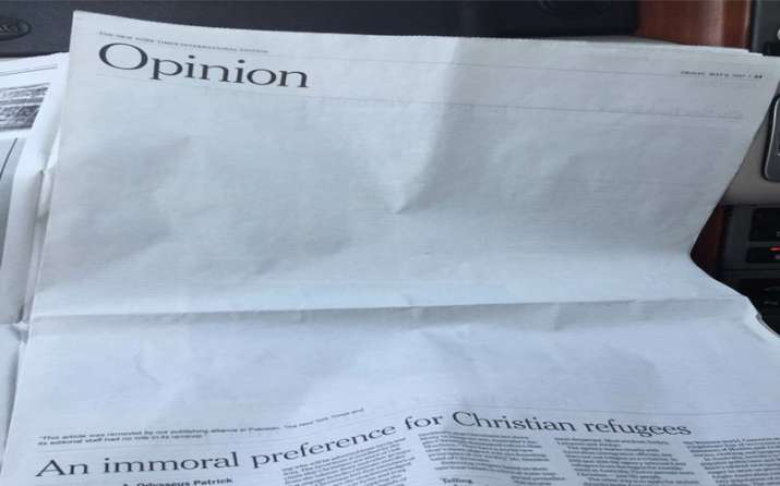 New York Times article replaced with blank space in Pakistan