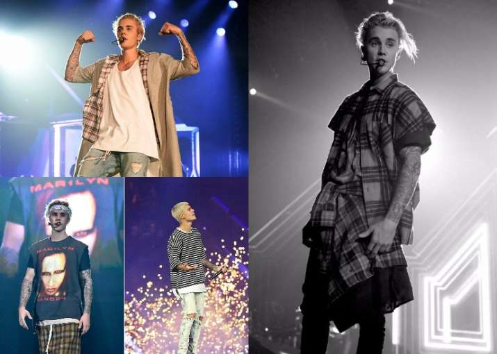 383aed77197e8 Justin Bieber s laid-back concert fashion is so cool! Have a look ...