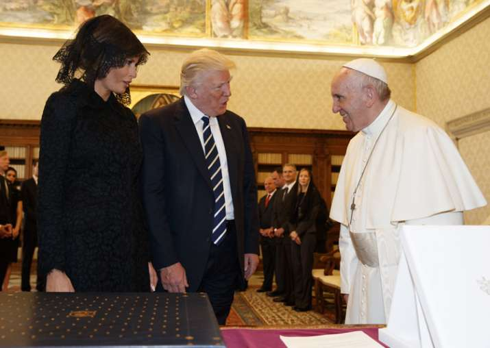Donald Trump and First lady Melania meet Pope Francis at