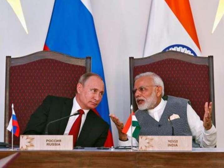 File pic of Russian President Putin and Indian PM Modi