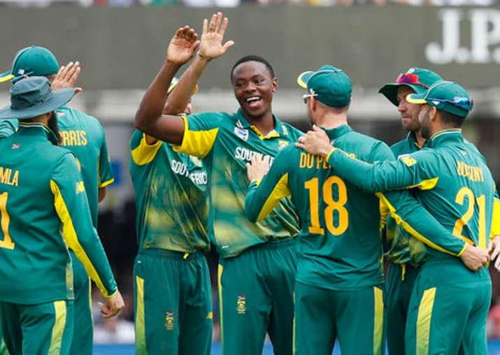 Kagiso Rabada celebrates one of his three dismissals.