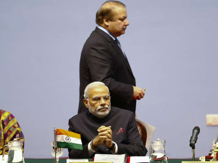 File pic of PM Modi and Nawaz Sharif at SAARC Summit in