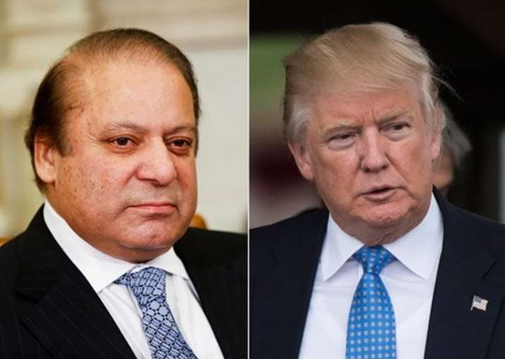 File pic of Nawaz Sharif and Donald Trump