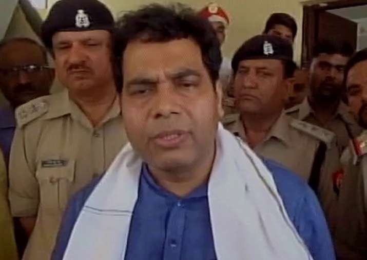 Shrikant Sharma speaks to reporters in Mathura