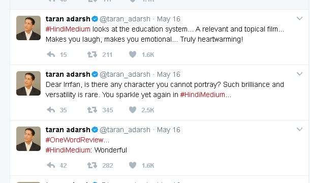 India Tv - Taran Adarsh tweeted about hindi medium