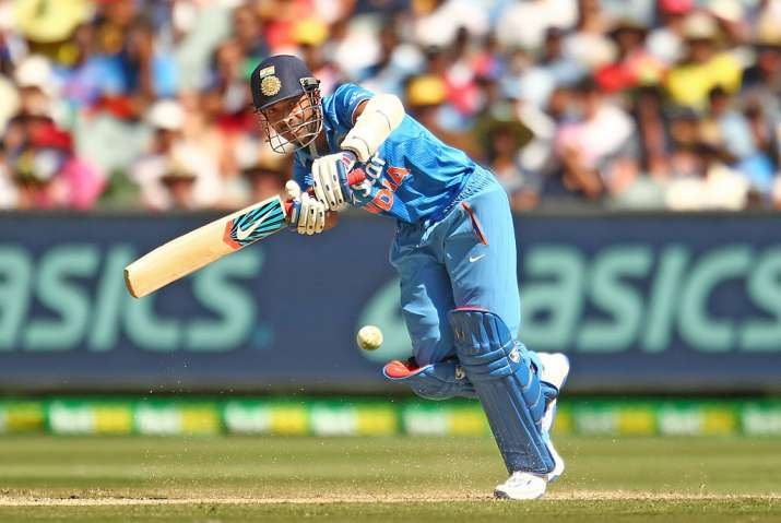 Ajinkya Rahane of India bats in action during the match