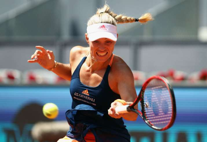 Angelique Kerber of Germany plays a forehand in her match