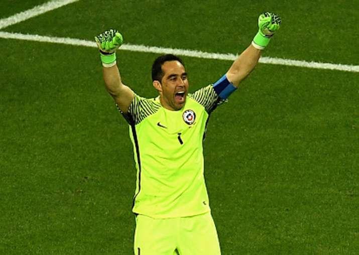 Claudio Bravo celebrates Chile's win over Portugal in
