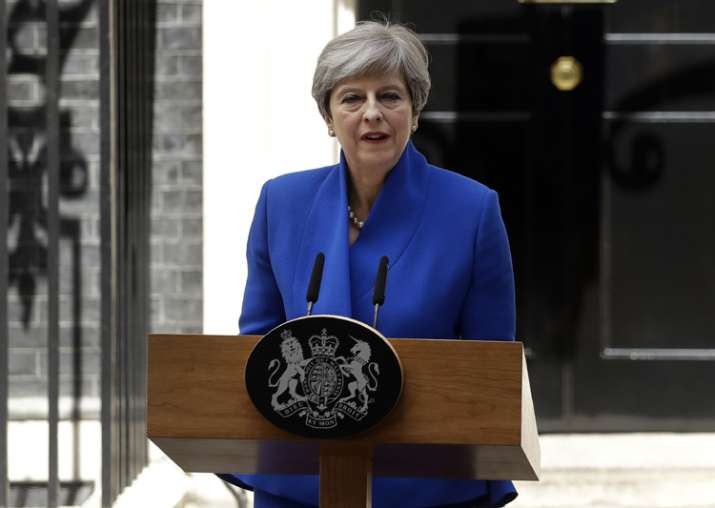 Theresa May addresses the press in Downing street, London