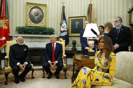India Tv - Melania Trump, Donald Trump, Narendra Modi