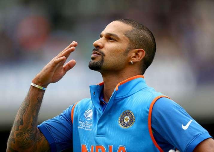 Shikhar Dhawan reacts after slamming a hundred against Sri