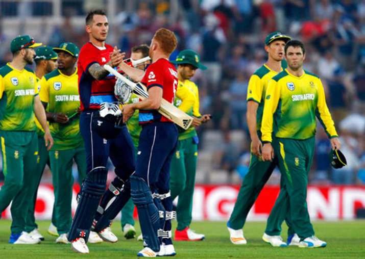 Alex Hales and Jonny Bairstow celebrate England's victory.